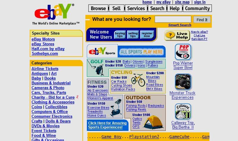 Cómo eran las webs de marcas conocidas en el pasado