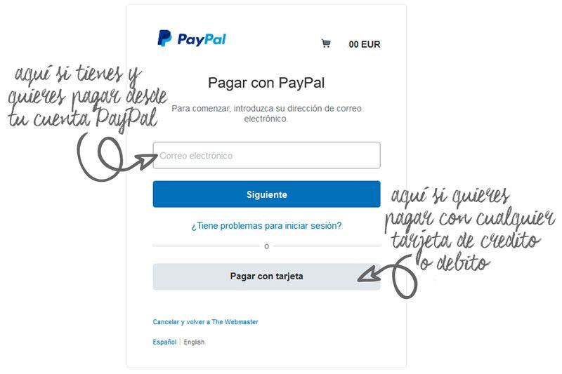 Instrucciones pago con tarjeta The Webmaster